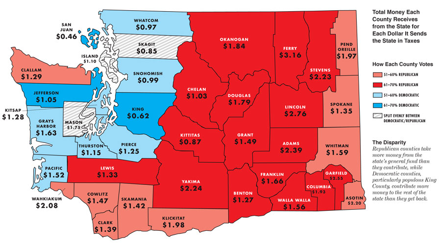 Blue And Red Counties In Washington State Democratic Underground - Washington political map